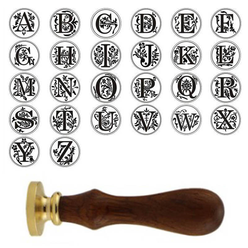 Retro 26 Letter A - Z Wax Seal Stamp Alphabet Letter Retro Wood Stamp Kits Replace Copper head Hobby Tools Sets Post Decor(China)