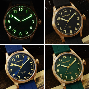 Image 5 - San Martin DIVER ดีบุก Retro Bronze ผู้ชายอัตโนมัตินาฬิกา Fluoro Rubber Sapphire ดูผ่านกรณีกลับส่องสว่าง