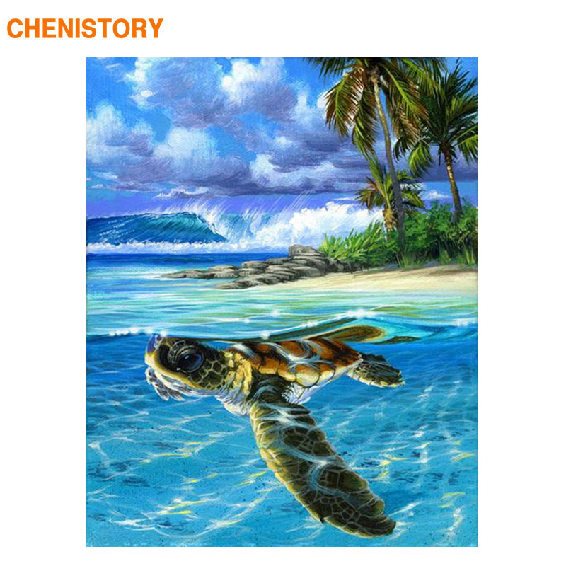CHENISTORY Frame Sea Turtle DIY Painting By Numbers Animals Canvas Painting Picture By Numbers For Home Wall Art Decors 60x75cm
