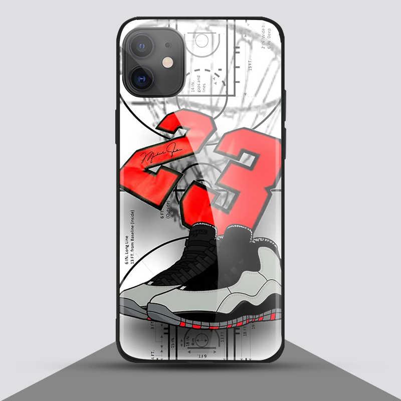 요르단 23 농구 아이폰 SE 6 6s 7 8 플러스 x xr xs 11 12Pro 최대 12 미니 강화 유리 전화 케이스 커버 소프트 실리콘
