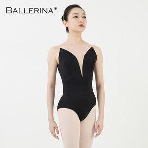 Image 4 - Ballet práctica leotardo mujeres danza traje Sling danza negro leotardo adultos niñas gimnasia leotardo bailarina 5040