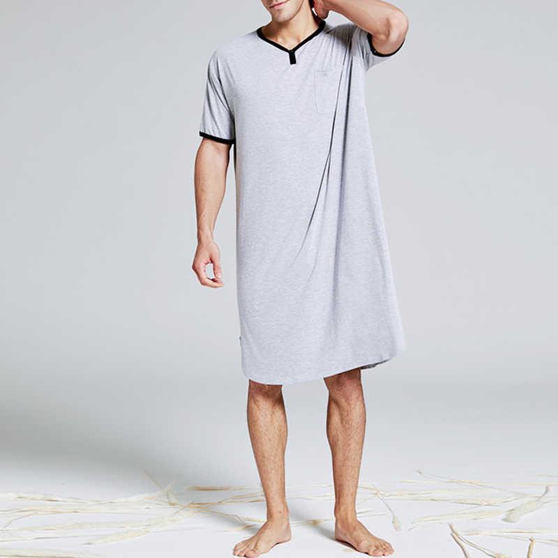 Mens Short Sleeve V Neck Pajamas Robe Casual Loose Pyjamas Loungwear Long Dress