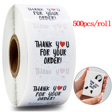 500pcs Thank you for your order stickers seal label for Shopping Small Shop Local Handmade sticker white Gold leaf sticker rolls