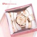 Moda 2020 novo relógio 5 pçs conjunto feminino relógios senhoras de luxo pulseira relógio de pulso de quartzo conjunto pulseira para presente reloj mujer