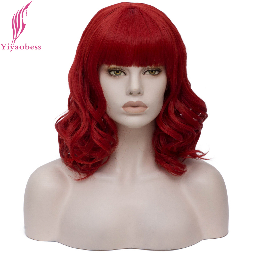 Yiyaobess 35CM Wavy Short Wig Red Black White Blonde Green Pink Synthetic Hair Halloween Costume Woman Cosplay Wigs With Bangs