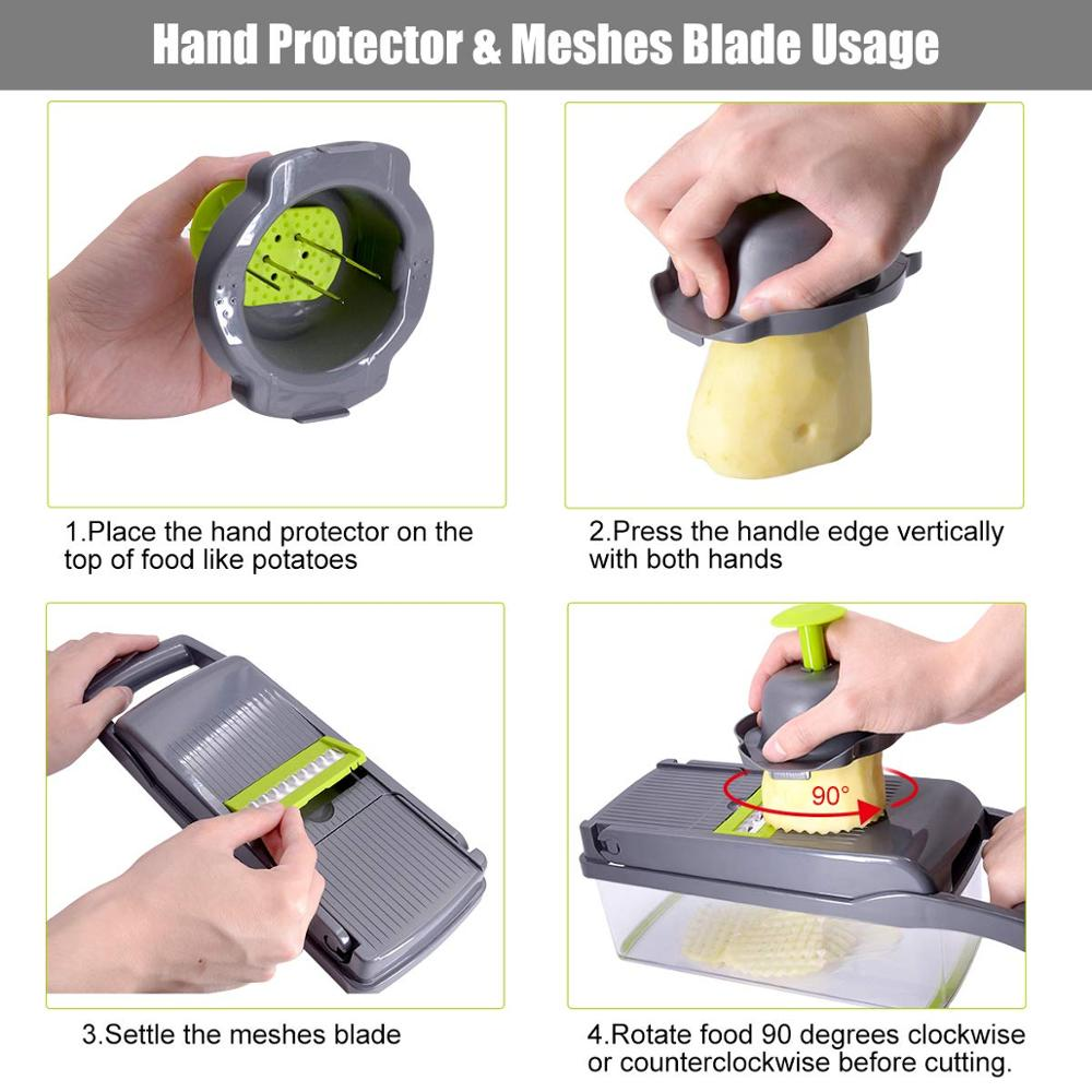 BPA-Free ABS Plastic Mandoline Slicer with Changeable Stainless Steel Blades for Fruits/Vegetables