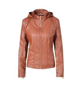 Image 1 - Blouson automne hiver similicuir 2019 de marque Plus velours pour moto, sweat à capuche pour femme