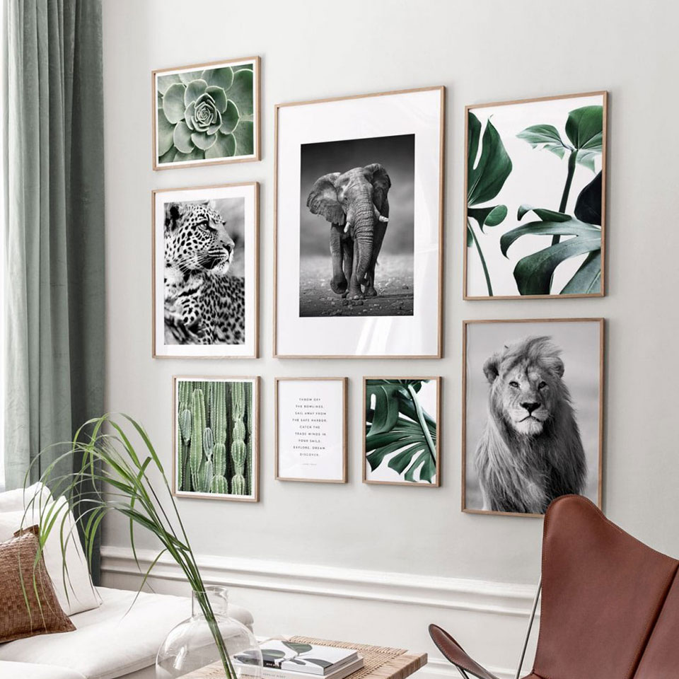 Nordic Plant Leaf  Poster Animals Canvas Painting Black White Wall Art Pictures For Living Room Modern Home Decorative Prints