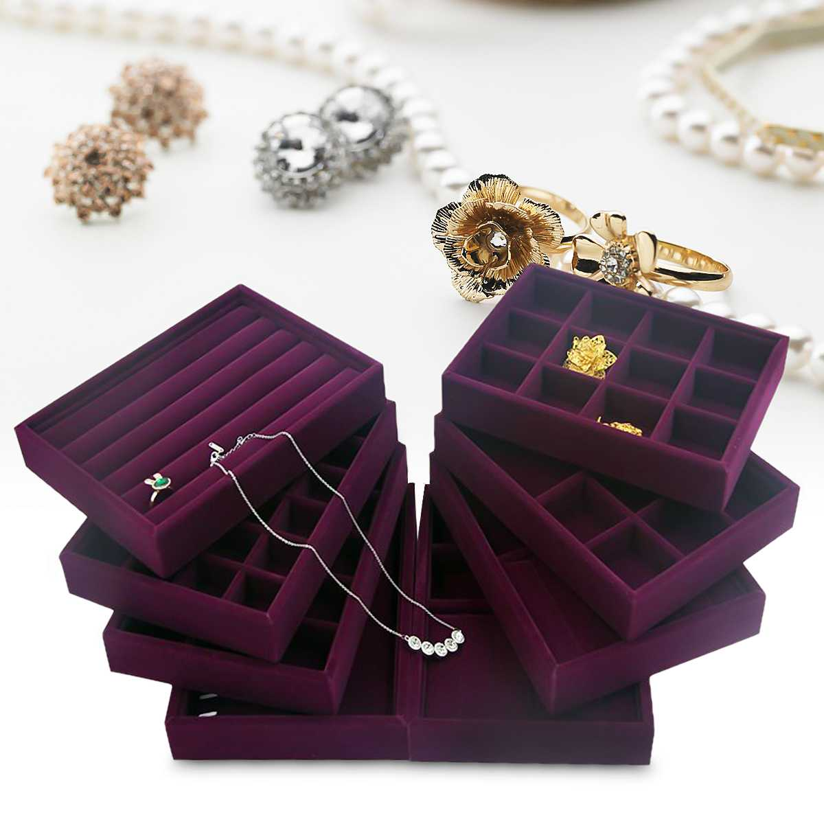 Anillo de terciopelo púrpura caja organizadora bandeja soporte collar pendientes brazalete caja de almacenamiento escaparate joyas soporte