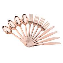 Alta qualidade 12 peças de plástico descartável garfos colheres knifes casamento festa decorações casa presente ouro rosa