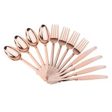 High Quality 12 Pieces Disposable Plastic Forks Spoons Knifes Wedding Party Home Decorations Gift Rose Gold