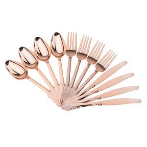 Image 1 - Yüksek kaliteli 12 adet tek kullanımlık plastik çatal kaşık bıçak düğün ev dekorasyonu hediye gül altın