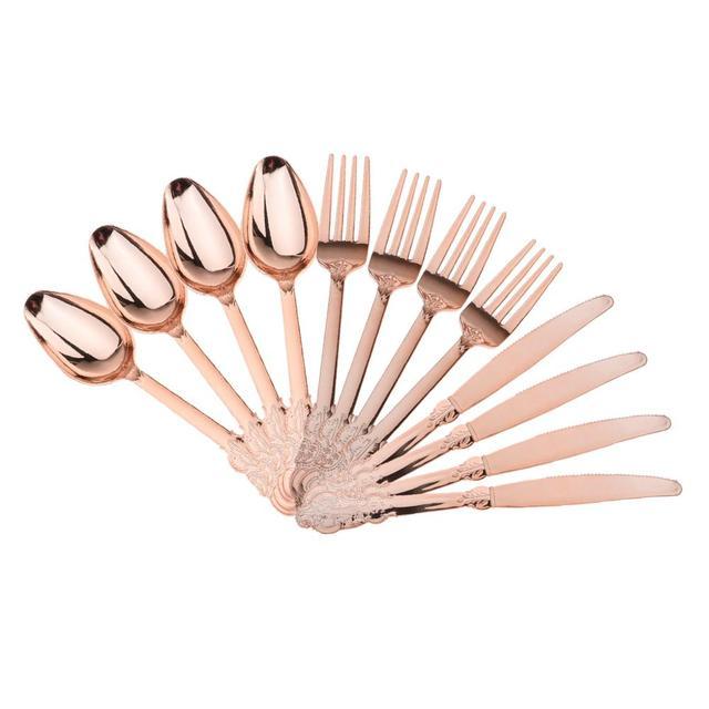 Yüksek kaliteli 12 adet tek kullanımlık plastik çatal kaşık bıçak düğün ev dekorasyonu hediye gül altın