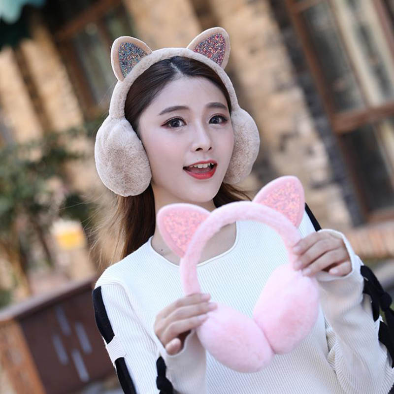 Calymel Brand New Fashion Women Girl Fur Winter Ear Warmer Earmuffs Cat Ear Muffs Earlap Glitter Sequin Earmuffs Headband