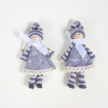 Christmas Pendant Drop Knitted Felt Long Legs Hanging Doll Tree Ornaments Holiday DecorationsCM