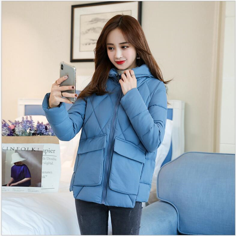 2019 Jacket Women Winter Fashion Warm Thick Solid Short Style Cotton padded women   Parkas   bread Coat Outwear 3XL 290