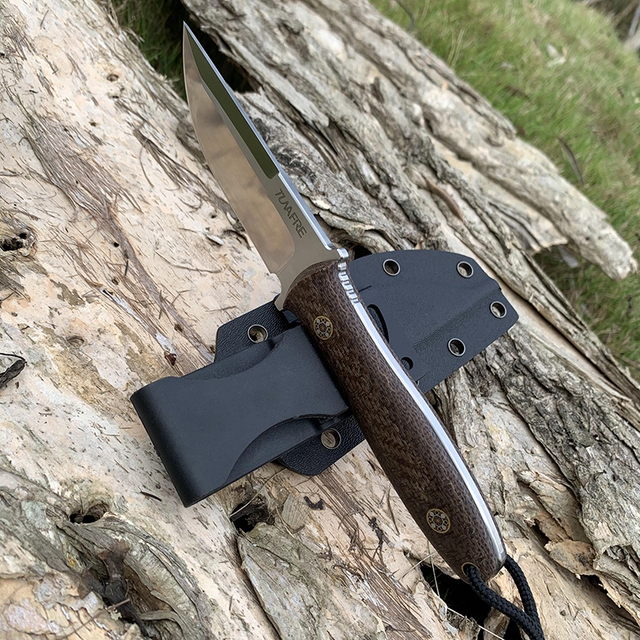 D2 Steel TUNAFIRE new fixed knife high-end Micarta handle field hunting self-defense tactical knife with Kydex Sheath 4