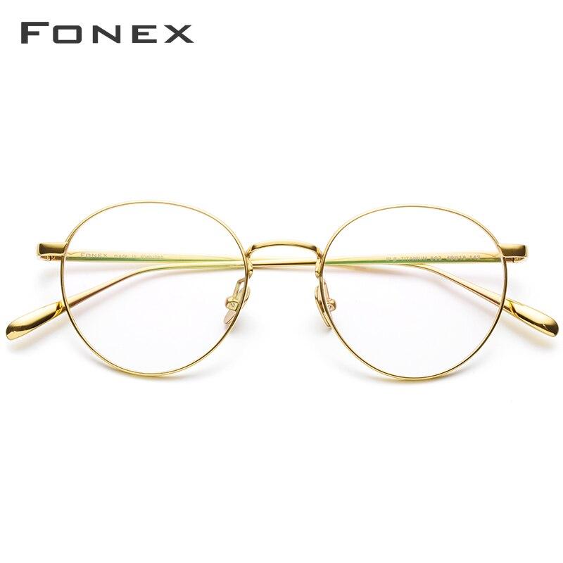 FONEX Pure Titanium Prescription Glasses Men Vintage Round Myopia Optical Eyeglasses Frame Women Female Retro Oval Eyewear 893