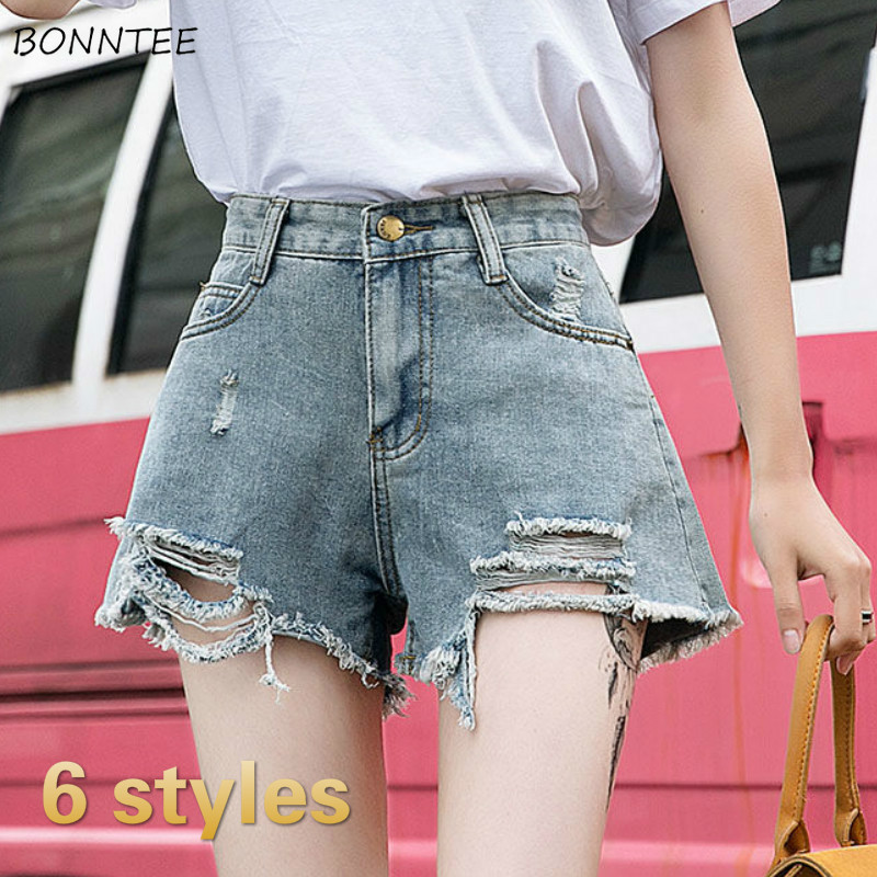 Shorts Women Plus Size Holes Denim Fur-line High Waist Slim Wide Leg Korean Trendy Retro Irregular Summer Short Womens All-match
