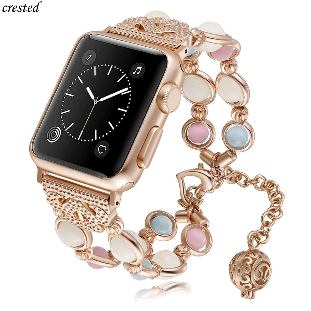 Strap For Apple Watch 5 Band 40mm 44mm IWatch Band 38mm 42mm Women Night Luminous Pearl Bracelet Apple Watch 3 4 2 1 40/44/38 Mm