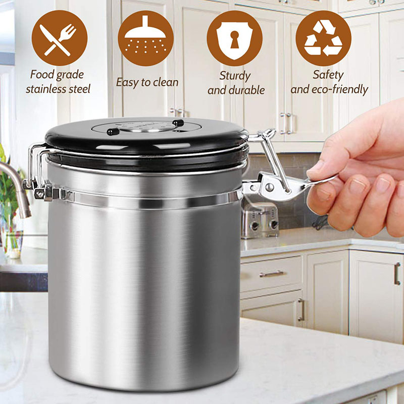 Airtight Coffee Canister Stainless Steel Container Coffee Ground Vault Jar with Valve for Kitchen DNJ998