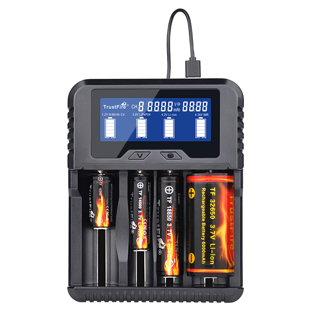 Trustfire TR 020 Battery Charger Household Powerbank for Li ion IMR 18650 26650 32650 Ni MH Ni Cd AA RCR123A RCR123 Battery|Portable Lighting Accessories| |  - title=
