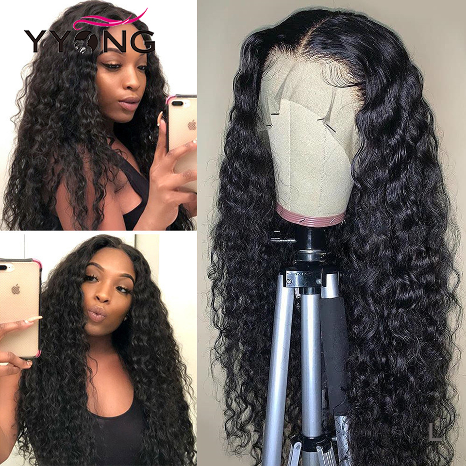 YYong 13x6 Lace Frontal Wig Malaysian Water Wave Human Hair Remy Hair Lace Front Wigs Pre-Plucked 120 150 Density For Women
