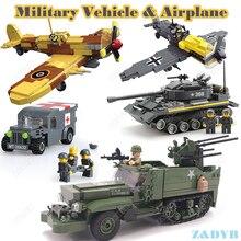 Military Vehicles Sets Tank Panzer Truck Airplane WW2 Mini Soldier Weapon Locking Model Building Blocks Brick Children Kids Toys