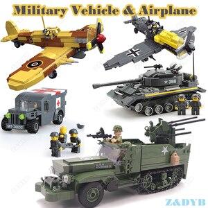 Image 1 - Military Vehicles Sets Tank Panzer Truck Airplane WW2 Mini Soldier Weapon Locking Model Building Blocks Brick Children Kids Toys