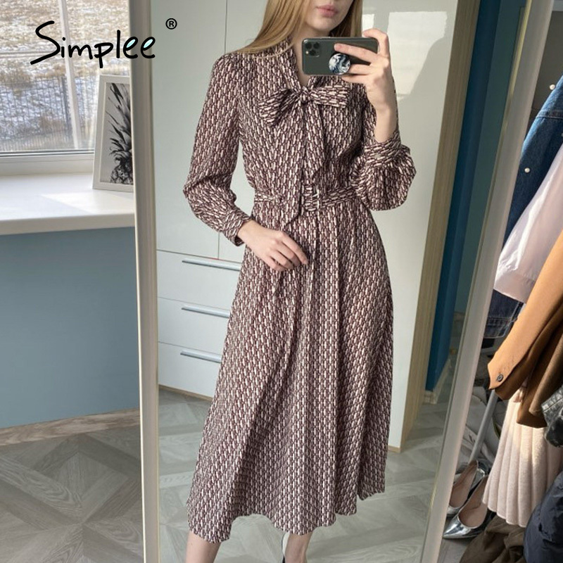 Simplee Vintage Chain Print Women Midi Dress Sash Belt Bow Tie Female A-line Dresses Elegant Spring Summer Office Ladies Dresses