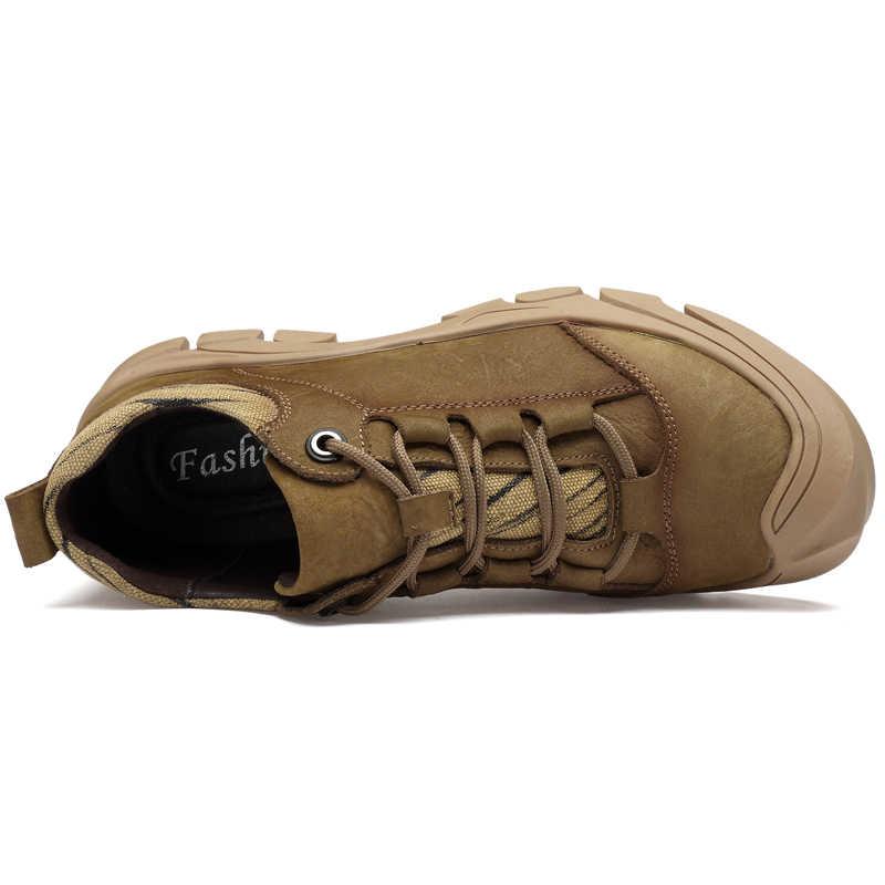 CLAXNEO Mann Schuhe Aus Echtem Leder Frühling Herbst Männlichen Stiefeletten Leder Schuh herren Walking Schuhe