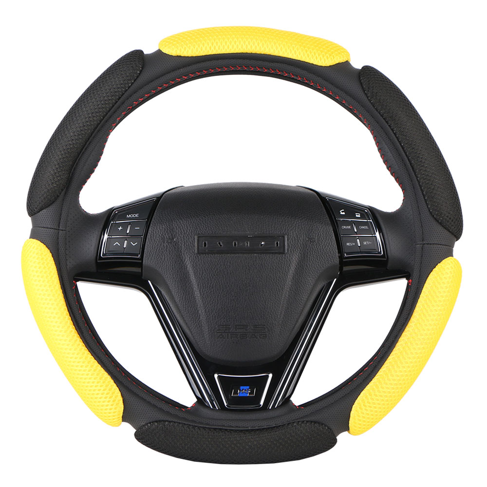 Противоскользящий чехол рулевого колеса автомобиля 3D дизайн/сетка дышащая Автомобильная оплетка для руля универсальная 38 см/15 дюймов