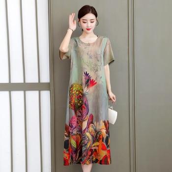 Vintage Floral Print summer dress Women Boho short Sleeve Long Dress o-neck Collar Casual plus size Dresses Robe casual round neck short sleeve plus size denim dress for women
