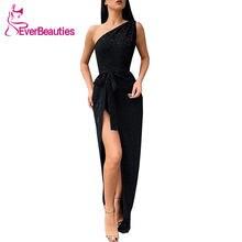 Вечернее платье с блестками на одно плечо длинное вечернее разрезом