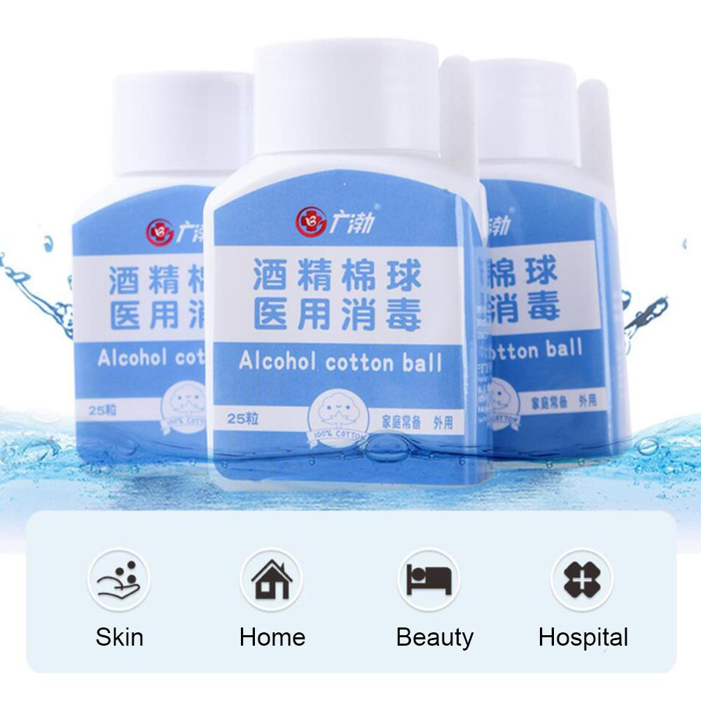 25pcs Diposable Medical Alcohol Cotton Balls Pads Sterile Alcohol Wipes 70% Alcoholicity Skin Wound Cleanser Disinfection