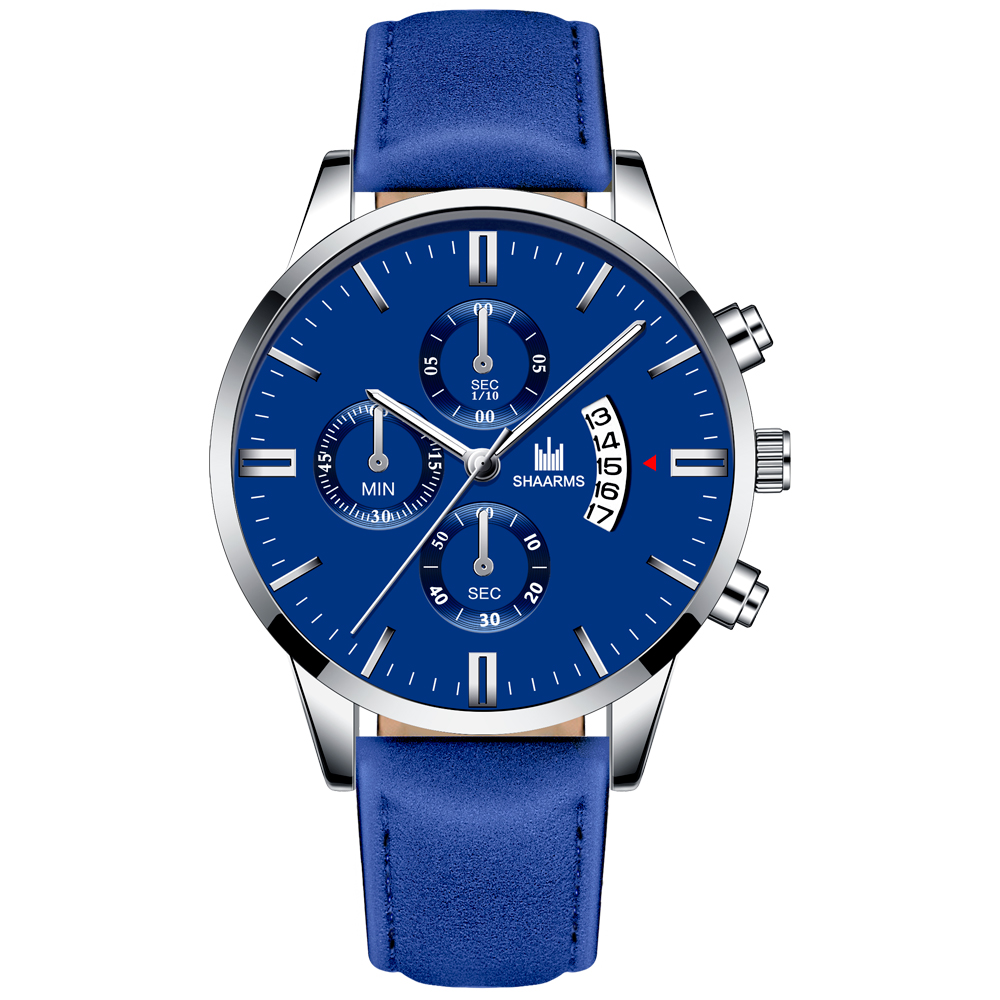 Relogio Masculino watches men fashion Sport box stainless steel leather band watch Quartz business wristwatch Reloj Hombre 2019 4