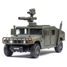 Coche militar Hummer M1046 a prueba de explosiones para niños, vehículo de aleación de sonido blindado, fundido a presión, escala 1:32
