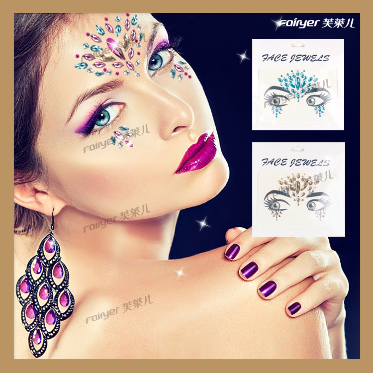 New Style Eyebrows Drill Makeup Ball Popular Europe And America Facial Stickers Acrylic Diamond Christmas Face Stick-on Crystals