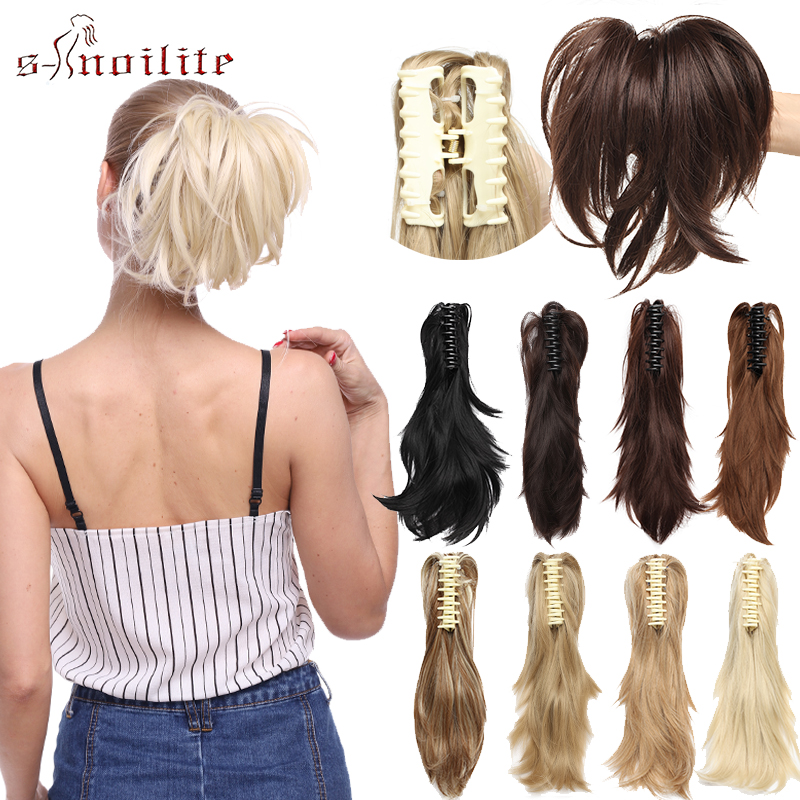 S-noilite Clip In Hair Extensions Claw Ponytail Synthetic Hair Pieces Tail Hair Wavy Clip In Ponytail Women Hair Bun Fake Hair