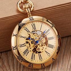 High Quality Vintage Golden Automatic Copper Mechanical Pocket Watch Men Women Engraved Fob Chain Sculpture Retro Pocket Watches