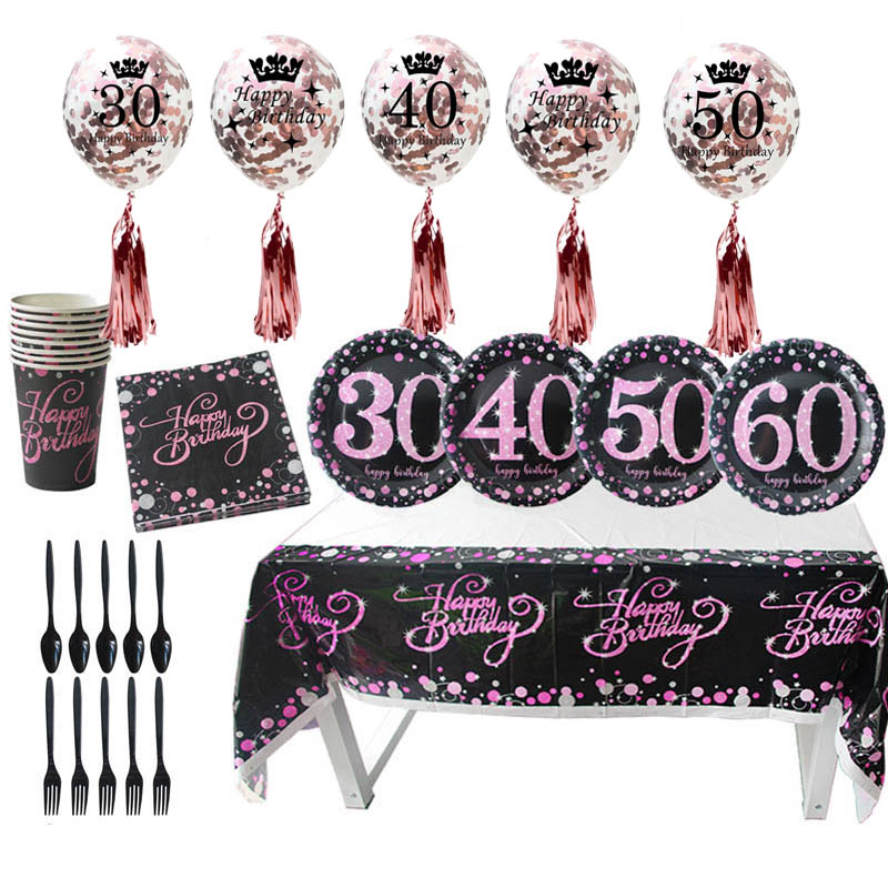30th 40th <font><b>50th</b></font> <font><b>Birthday</b></font> <font><b>Party</b></font> Disposable Tableware Adult <font><b>Birthday</b></font> <font><b>Party</b></font> Supplies Balloon <font><b>Party</b></font> Decorations 30 40 50 years old image