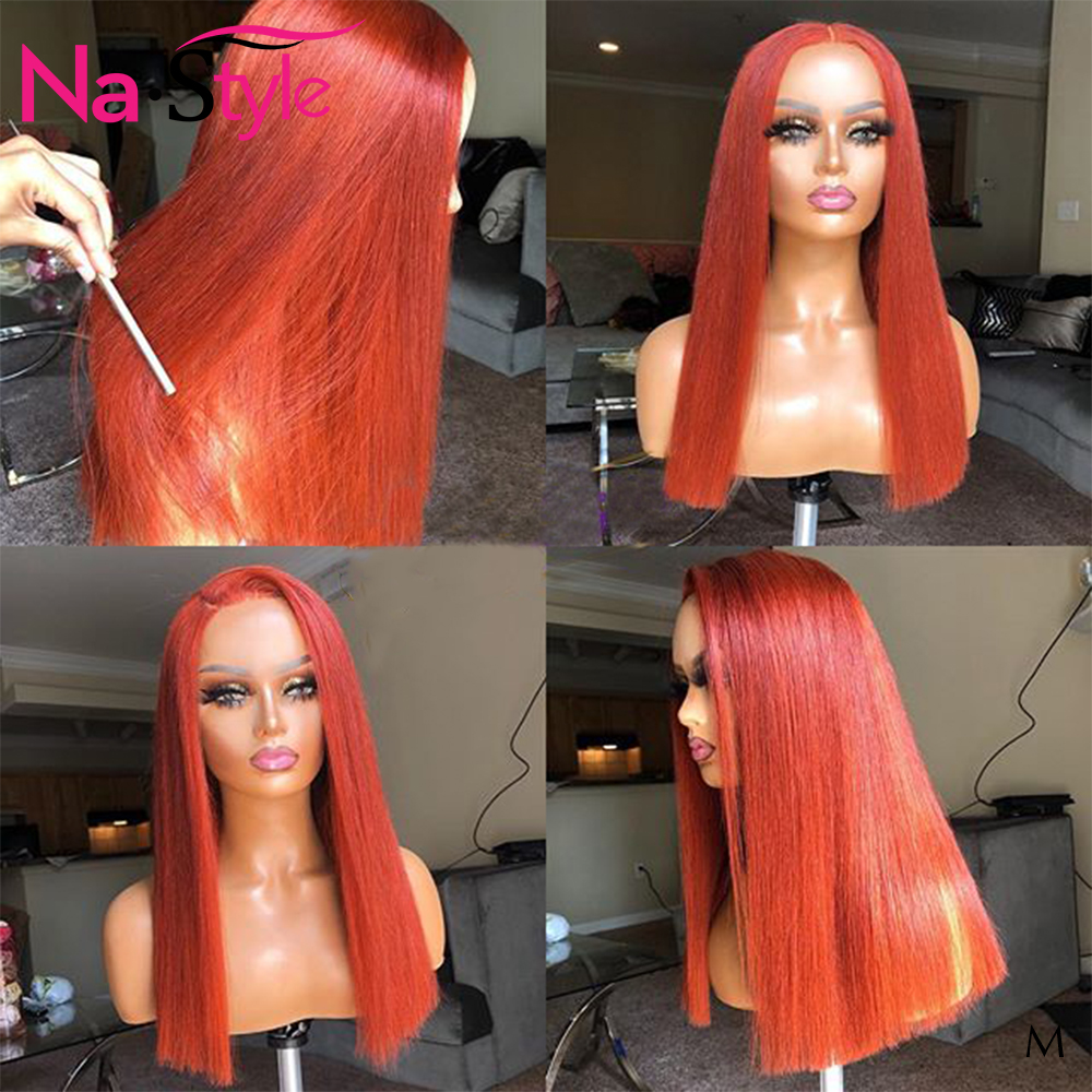 HD Transparent Lace Wigs Orange Ginger Wig Colored 13x6 Lace Front Straight Remy Human Hair Wigs Pre Plucked Bleach Knots 150