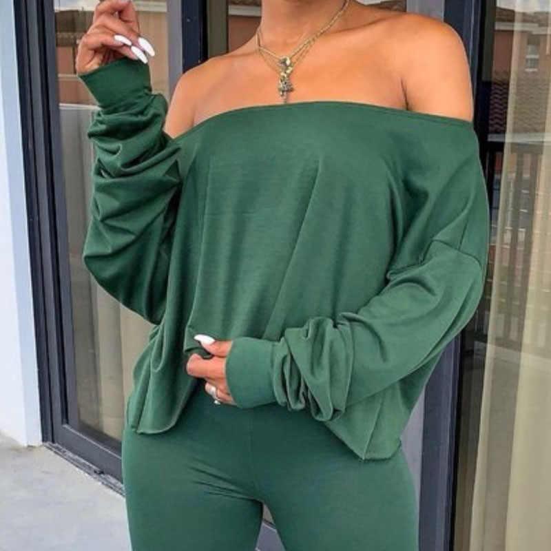 Elegante Vrouw Eenvoudige Kleding Set Casual Vrouwen Off Shoulder Lange Mouwen Top T-shirt Slim Fit Broek Vrouwelijke Twee Stuk outfits Set