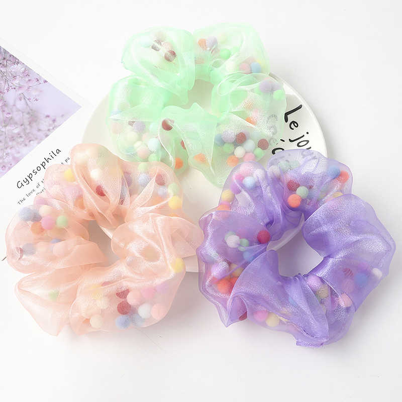 Chiffon Flower Hair Scrunchies Hair Bows Pack Of 14 Colors Women Girl Hair Ties