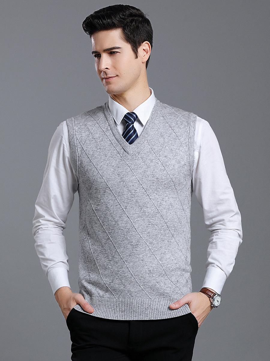 New Arrival Men's Autumn Winter Casual Knitted Pure Color V-neck Vest Cashmere Warm  Male Fashion Sweater