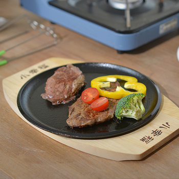 kitchen pot cookware Cast iron skilet household fried steak plate barbecue Iron frying pan burning tray barbecue pot