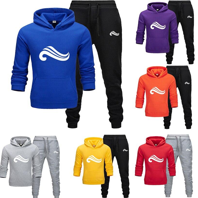 2019 New Popular Brand Pullover Hooded Men's Fall Winter Set Men's Hoodie + Two-piece Sweatsuit Set Bodybuilding Sportswear