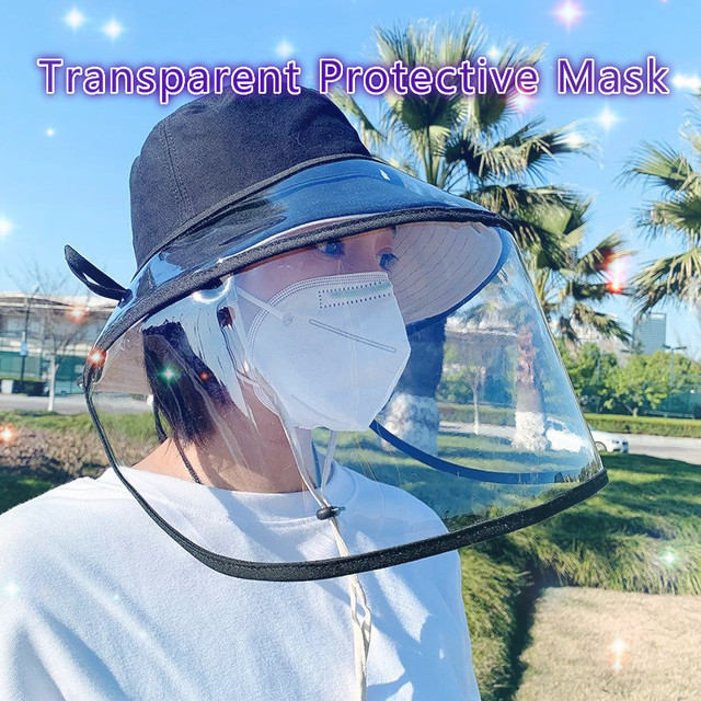 Outdoor Detachable Rope Transparent Safe Clear Mask Cap Anti Smog Splash Saliva Windproof Removable Safety Full Face Shield Mask