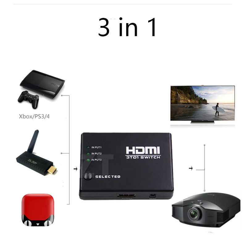 3x1 HDMI Splitter 3 Port Hub Box Auto Switch 3 In 1 Out Switcher 1080p HD 1.4 With Remote Control For HDTV XBOX360 PS3 Projector