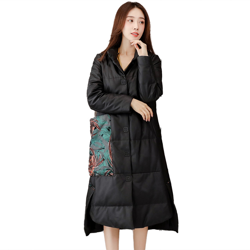 Winter Black Print Warm Thick Leather Jackets Women Long Sheepskin White Duck Down Coat Fashion High Quality Real Fur Overcoat